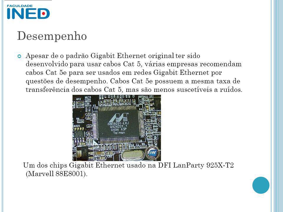 Desempenho Apesar de o padrão Gigabit Ethernet original ter sido desenvolvido para usar cabos Cat 5, várias empresas recomendam cabos Cat 5e para ser