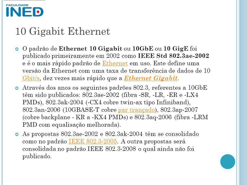 10 Gigabit Ethernet O padrão de Ethernet 10 Gigabit ou 10GbE ou 10 GigE foi publicado primeiramente em 2002 como IEEE Std 802.3ae-2002 e é o mais rápi