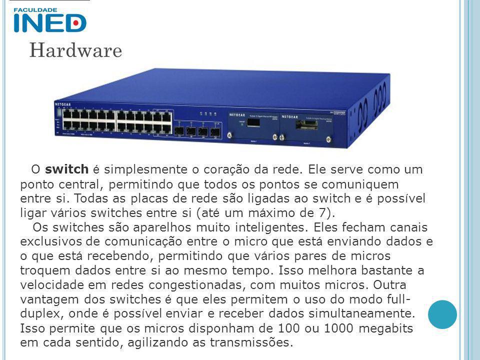 Hardware O switch é simplesmente o cora ç ão da rede. Ele serve como um ponto central, permitindo que todos os pontos se comuniquem entre si. Todas as