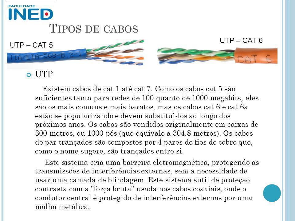 T IPOS DE CABOS UTP Existem cabos de cat 1 até cat 7. Como os cabos cat 5 são suficientes tanto para redes de 100 quanto de 1000 megabits, eles são os