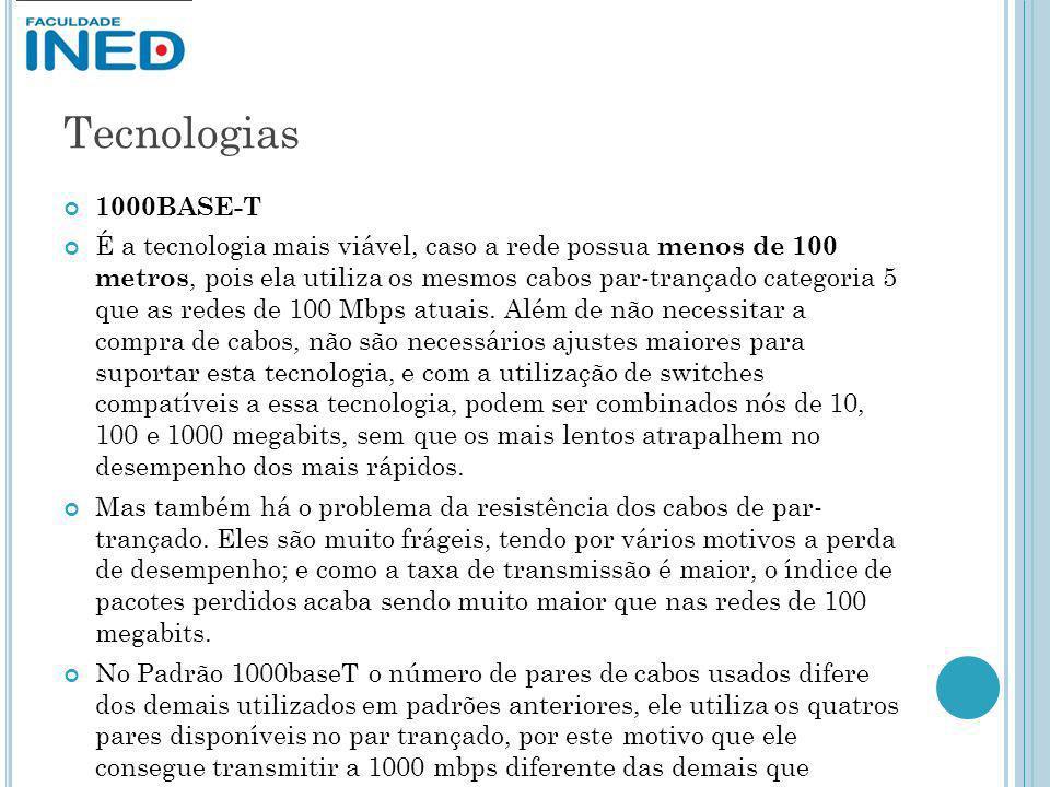 Tecnologias 1000BASE-T É a tecnologia mais viável, caso a rede possua menos de 100 metros, pois ela utiliza os mesmos cabos par-trançado categoria 5 q