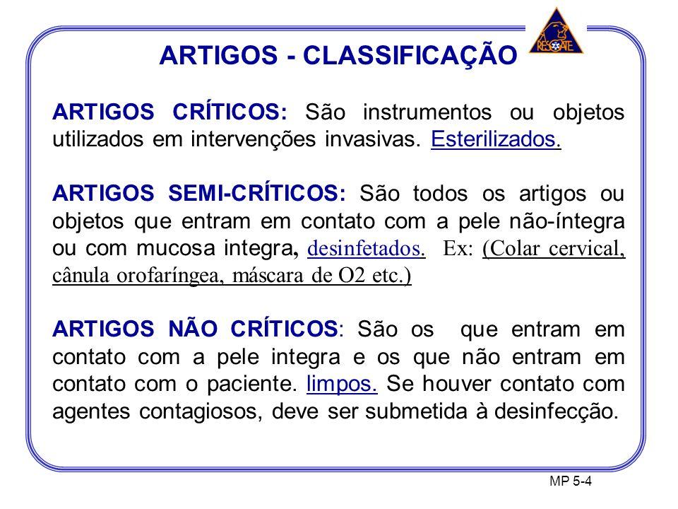 ARTIGOS - CLASSIFICAÇÃO MP 5-4 ARTIGOS CRÍTICOS: São instrumentos ou objetos utilizados em intervenções invasivas.