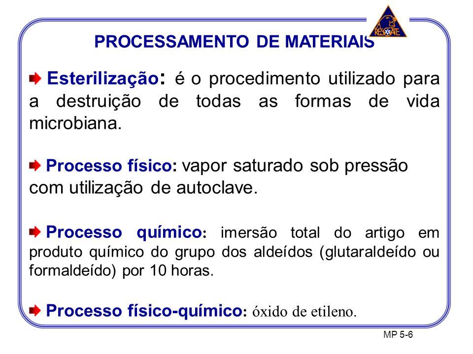 PROCESSAMENTO DE MATERIAIS Esterilização : é o procedimento utilizado para a destruição de todas as formas de vida microbiana.