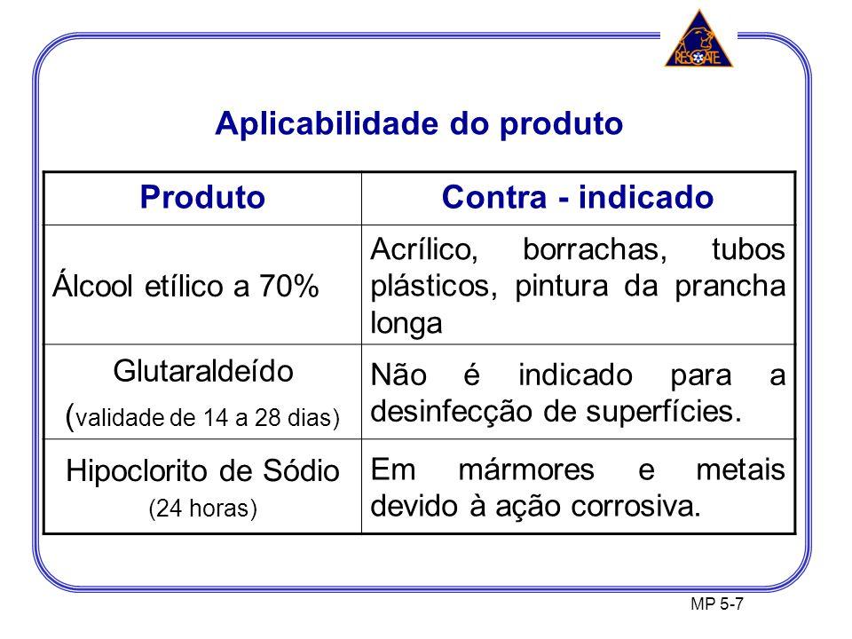 MP 5-7 ProdutoContra - indicado Álcool etílico a 70% Acrílico, borrachas, tubos plásticos, pintura da prancha longa Glutaraldeído ( validade de 14 a 28 dias) Não é indicado para a desinfecção de superfícies.