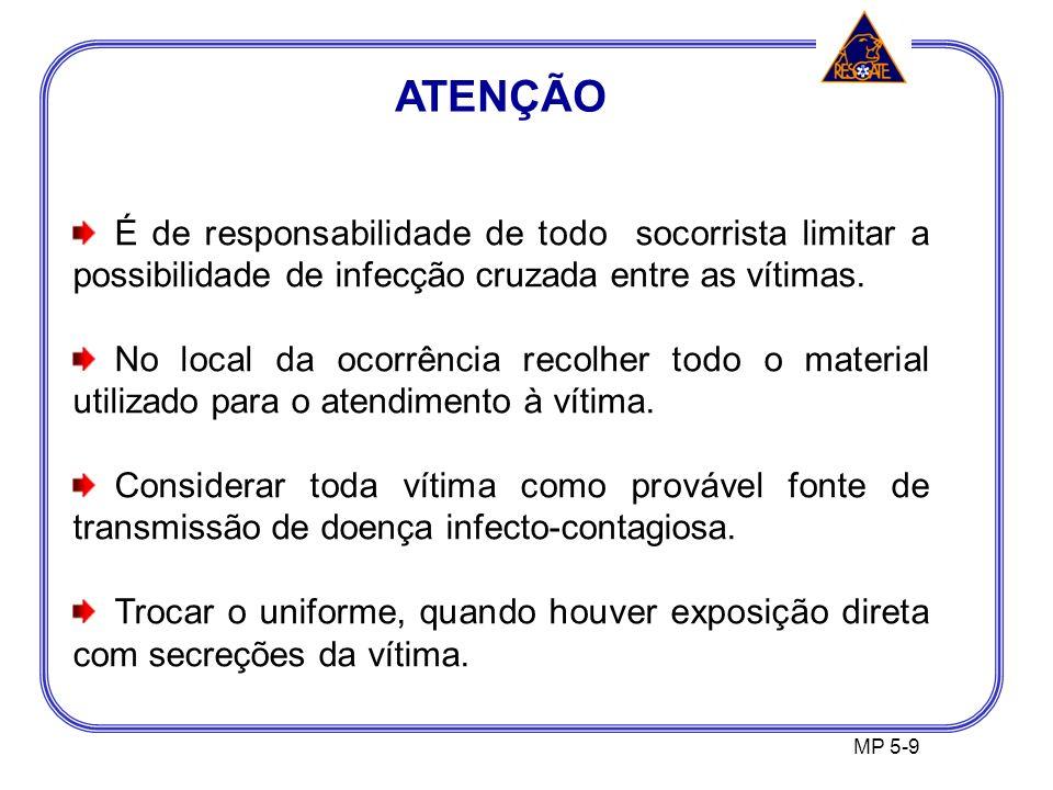 ATENÇÃO MP 5-9 É de responsabilidade de todo socorrista limitar a possibilidade de infecção cruzada entre as vítimas.