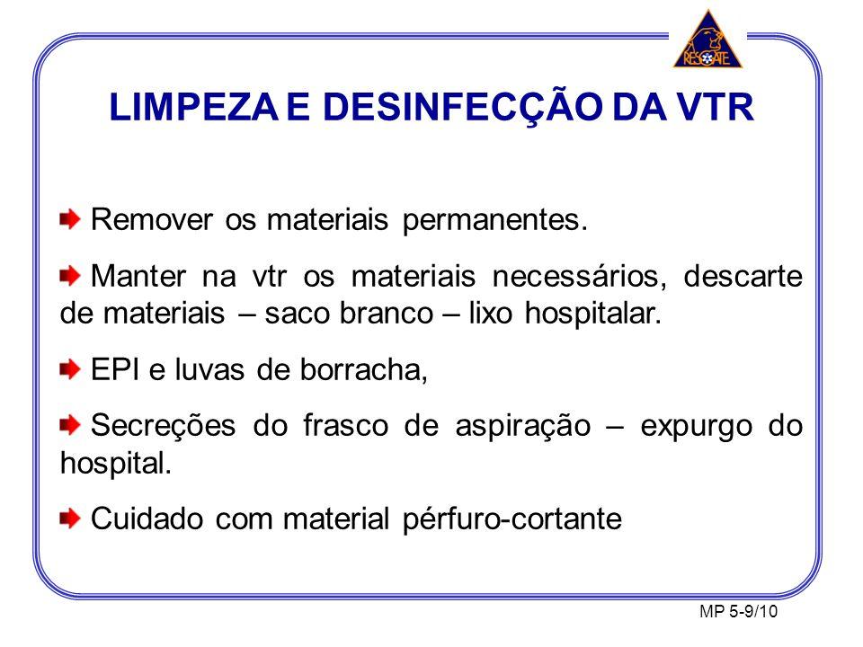 LIMPEZA E DESINFECÇÃO DA VTR Remover os materiais permanentes.