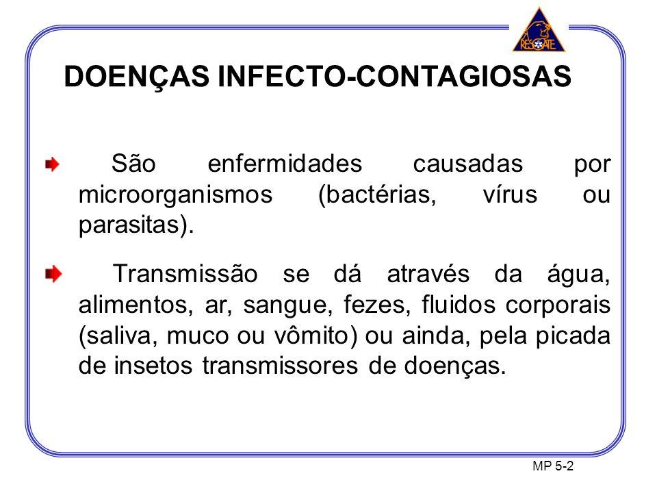 DOENÇAS INFECTO-CONTAGIOSAS MP 5-2 São enfermidades causadas por microorganismos (bactérias, vírus ou parasitas).