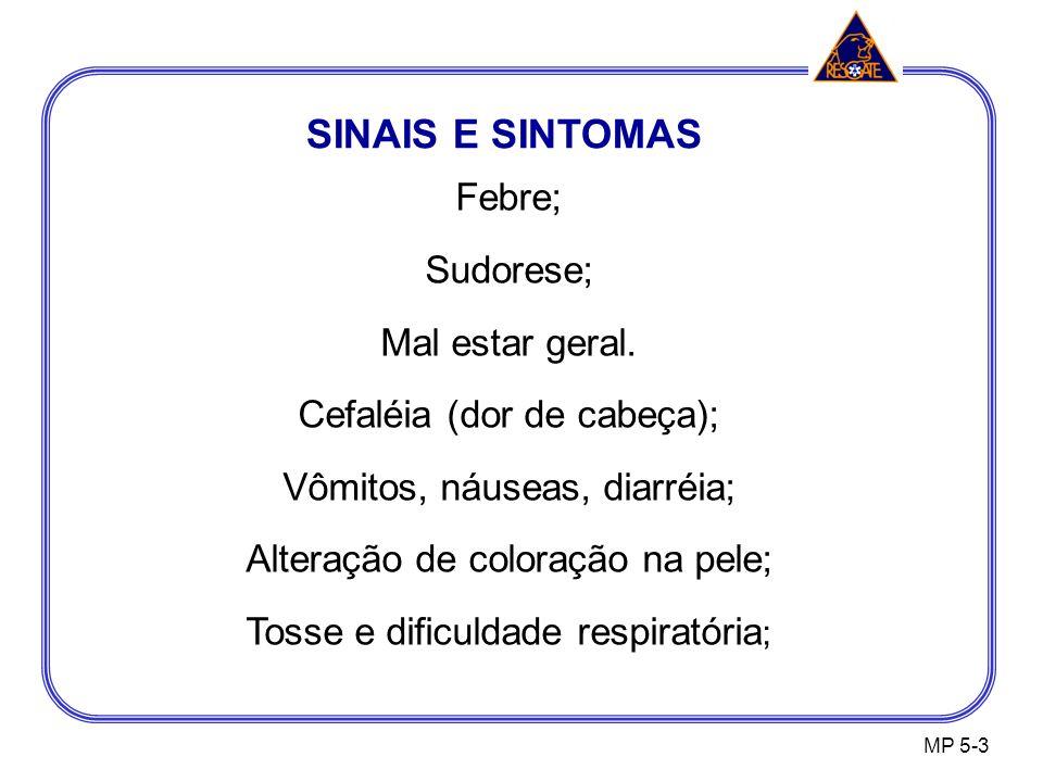 SINAIS E SINTOMAS MP 5-3 Febre; Sudorese; Mal estar geral.
