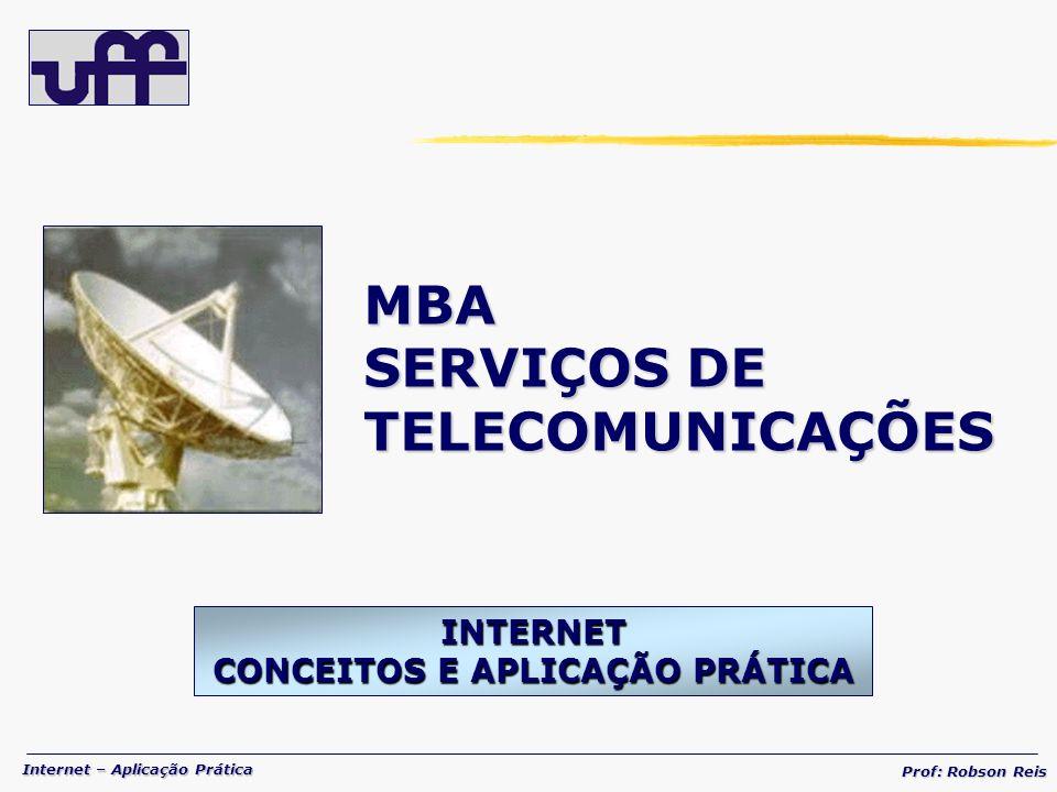 Internet – Aplicação Prática Prof: Robson Reis BANDA LARGA – CABO CONEXÃO VIA CABO Conexão física à Internet através de Cable Modem conectado ao cabo coaxial da infra-estrutura de empresa de TV a Cabo.