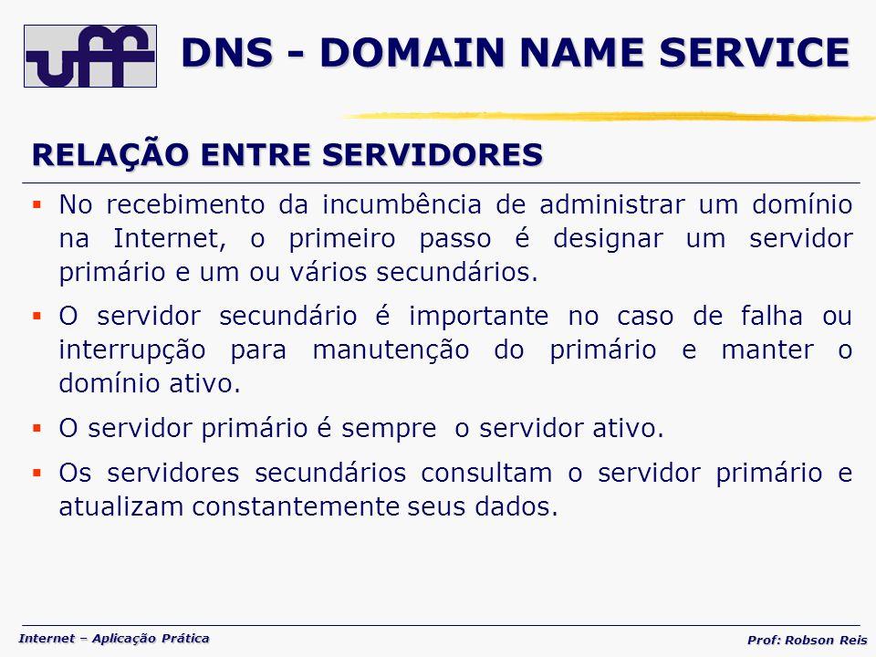 Internet – Aplicação Prática Prof: Robson Reis RELAÇÃO ENTRE SERVIDORES No recebimento da incumbência de administrar um domínio na Internet, o primeiro passo é designar um servidor primário e um ou vários secundários.