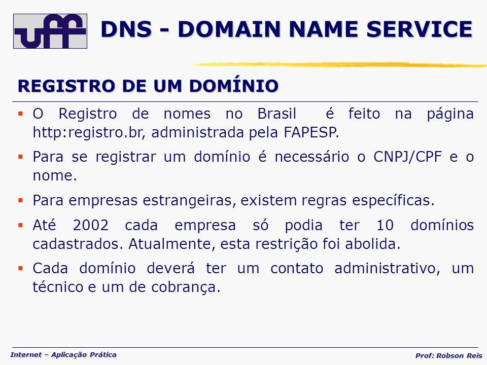 Internet – Aplicação Prática Prof: Robson Reis REGISTRO DE UM DOMÍNIO O Registro de nomes no Brasil é feito na página http:registro.br, administrada pela FAPESP.