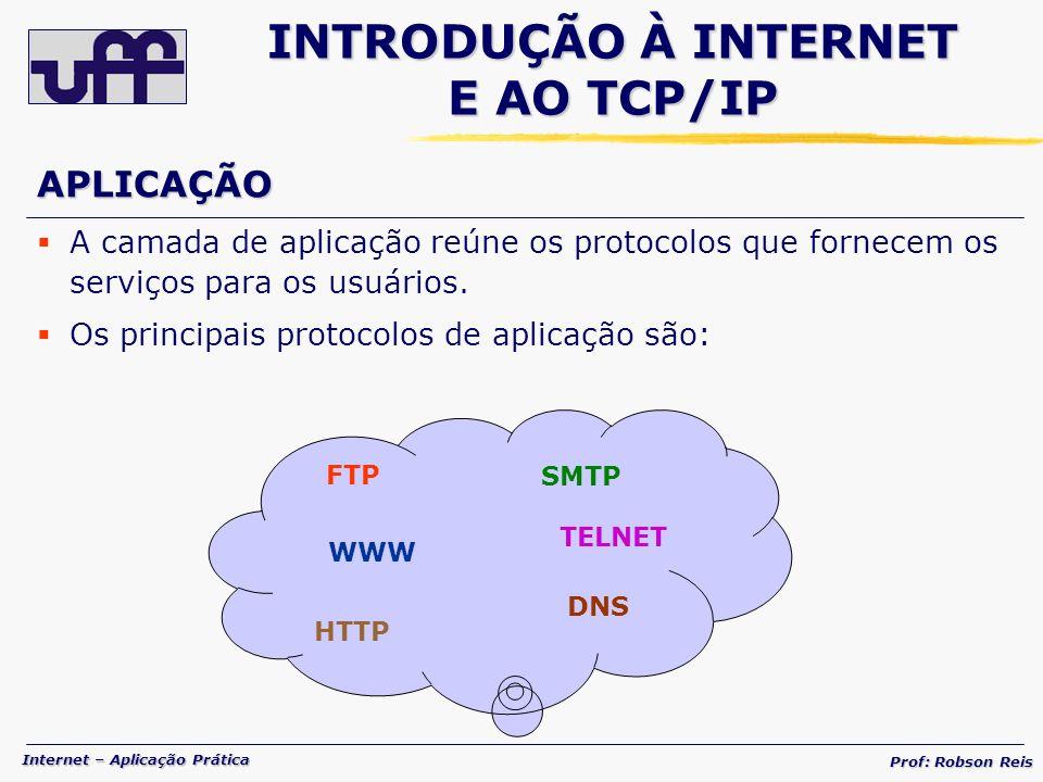 Internet – Aplicação Prática Prof: Robson Reis A camada de aplicação reúne os protocolos que fornecem os serviços para os usuários.