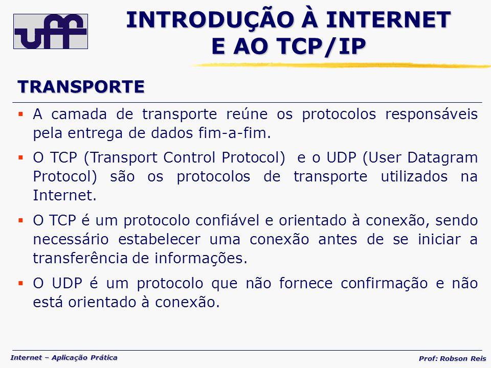 Internet – Aplicação Prática Prof: Robson Reis A camada de transporte reúne os protocolos responsáveis pela entrega de dados fim-a-fim.