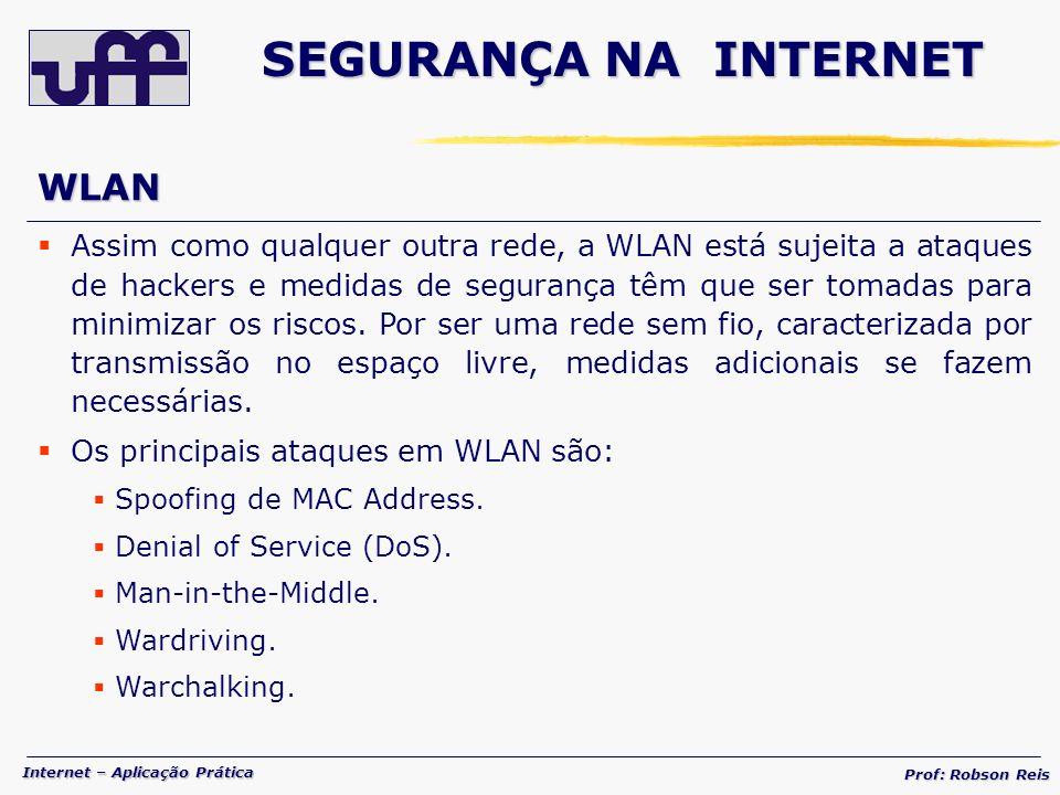 Internet – Aplicação Prática Prof: Robson Reis WLAN Assim como qualquer outra rede, a WLAN está sujeita a ataques de hackers e medidas de segurança têm que ser tomadas para minimizar os riscos.
