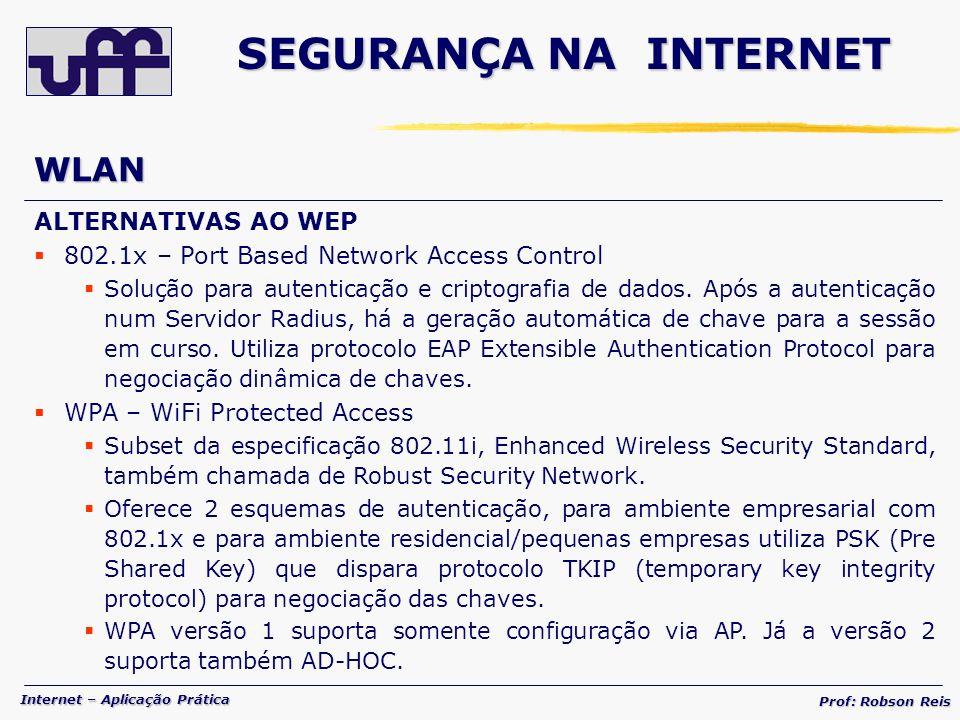 Internet – Aplicação Prática Prof: Robson Reis WLAN ALTERNATIVAS AO WEP 802.1x – Port Based Network Access Control Solução para autenticação e criptografia de dados.