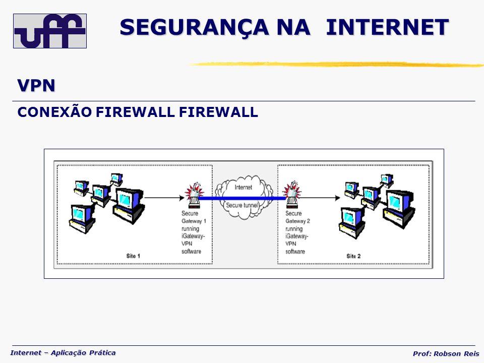 Internet – Aplicação Prática Prof: Robson Reis VPN CONEXÃO FIREWALL FIREWALL SEGURANÇA NA INTERNET