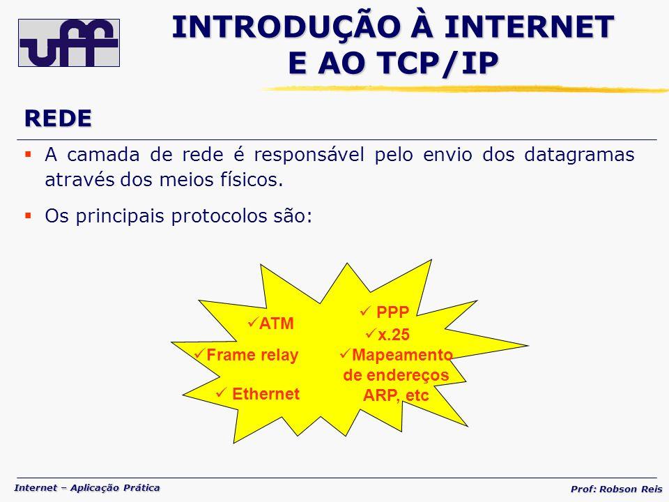 Internet – Aplicação Prática Prof: Robson Reis A camada de rede é responsável pelo envio dos datagramas através dos meios físicos.