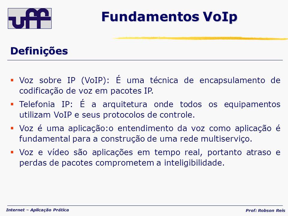 Internet – Aplicação Prática Prof: Robson Reis Definições Voz sobre IP (VoIP): É uma técnica de encapsulamento de codificação de voz em pacotes IP.