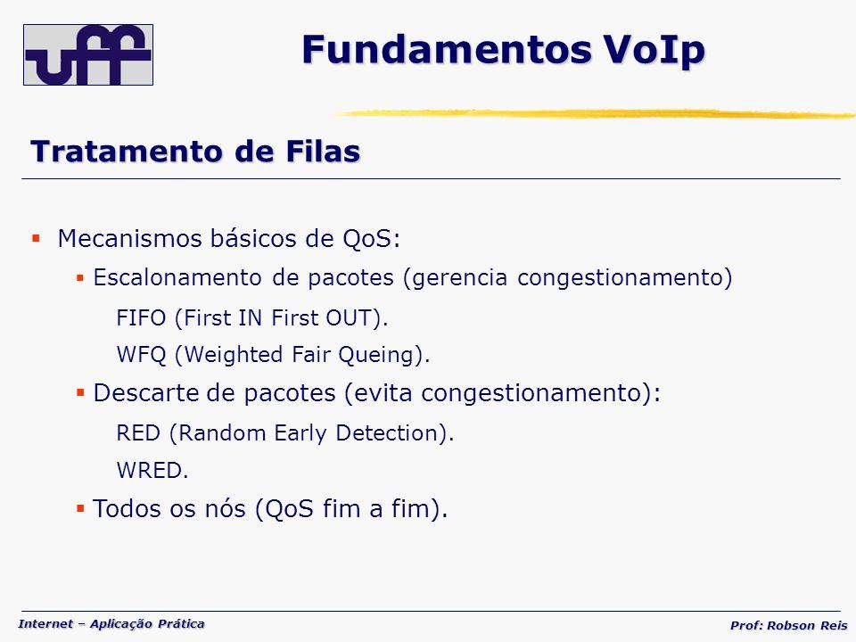 Internet – Aplicação Prática Prof: Robson Reis Tratamento de Filas Mecanismos básicos de QoS: Escalonamento de pacotes (gerencia congestionamento) FIFO (First IN First OUT).