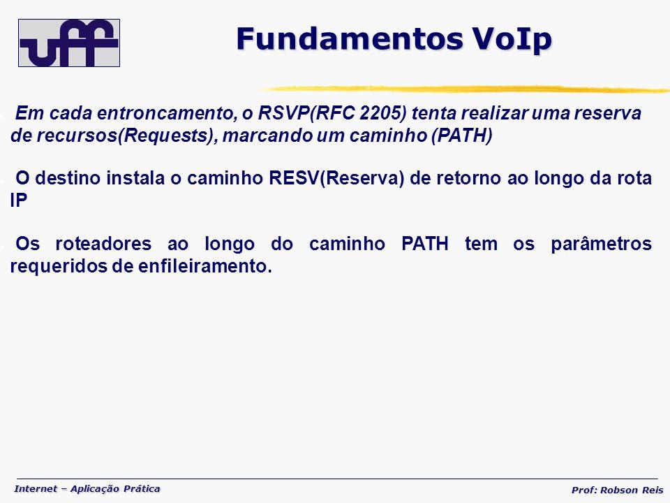 Internet – Aplicação Prática Prof: Robson Reis Em cada entroncamento, o RSVP(RFC 2205) tenta realizar uma reserva de recursos(Requests), marcando um caminho (PATH) O destino instala o caminho RESV(Reserva) de retorno ao longo da rota IP Os roteadores ao longo do caminho PATH tem os parâmetros requeridos de enfileiramento.