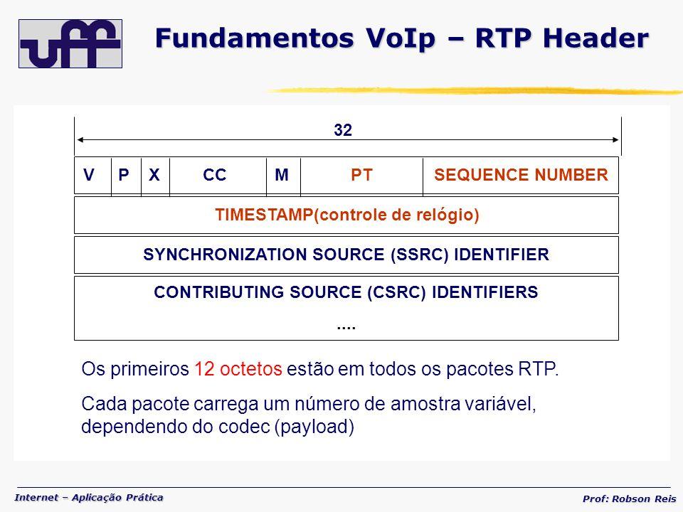 Internet – Aplicação Prática Prof: Robson Reis Os primeiros 12 octetos estão em todos os pacotes RTP.