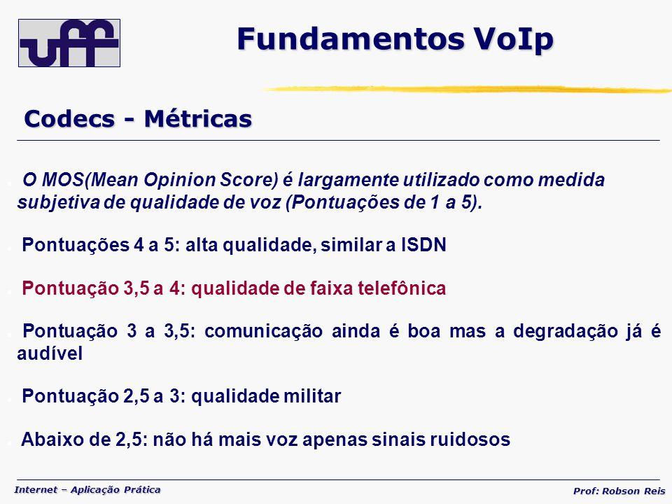 Internet – Aplicação Prática Prof: Robson Reis Codecs - Métricas Fundamentos VoIp O MOS(Mean Opinion Score) é largamente utilizado como medida subjetiva de qualidade de voz (Pontuações de 1 a 5).