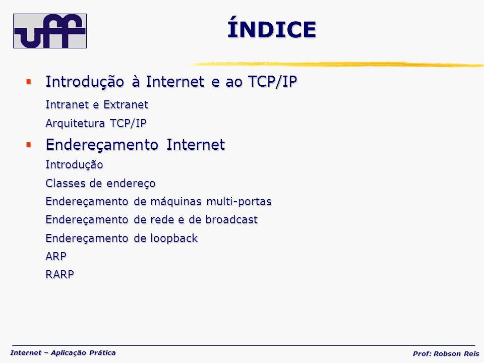 Internet – Aplicação Prática Prof: Robson Reis Protocolos Inter-redes Protocolos Inter-redes Protocolo IP FragmentaçãoICMPPING Roteamento na Internet Roteamento na InternetConceitoTabelas Roteamento estático Roteamento dinâmico Protocolos de roteamento Roteamento em sub-redes Uso de máscaras IGMP IPv6 IPv6 ÍNDICE