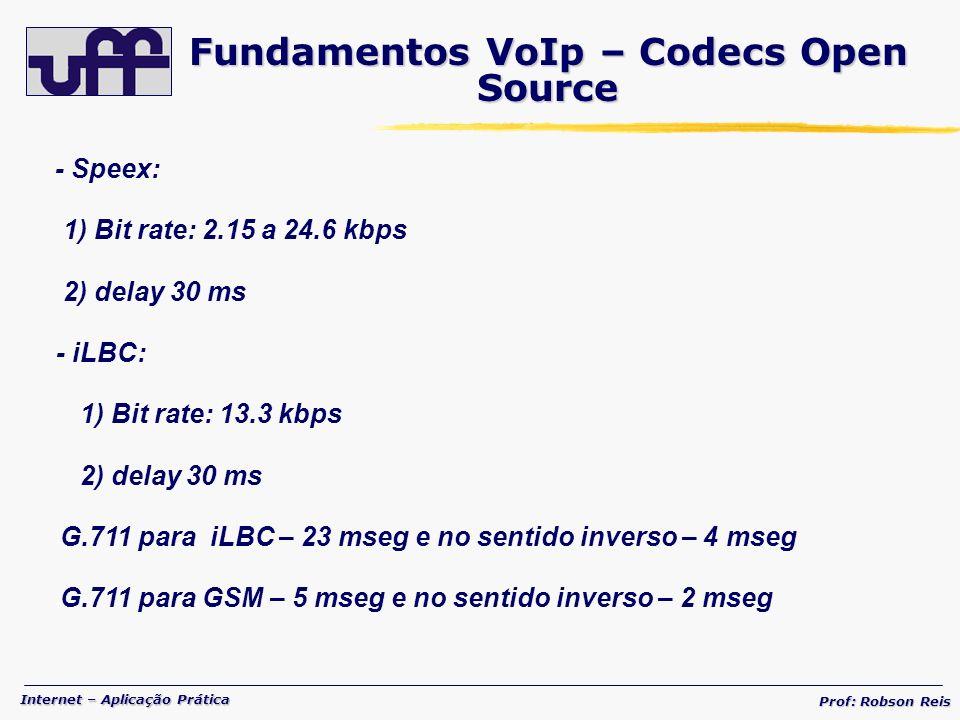 Internet – Aplicação Prática Prof: Robson Reis - Speex: 1) Bit rate: 2.15 a 24.6 kbps 2) delay 30 ms - iLBC: 1) Bit rate: 13.3 kbps 2) delay 30 ms - G.711 para iLBC – 23 mseg e no sentido inverso – 4 mseg - G.711 para GSM – 5 mseg e no sentido inverso – 2 mseg Fundamentos VoIp – Codecs Open Source