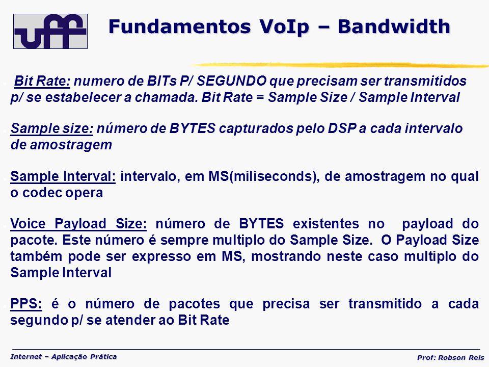 Internet – Aplicação Prática Prof: Robson Reis Bit Rate: numero de BITs P/ SEGUNDO que precisam ser transmitidos p/ se estabelecer a chamada.