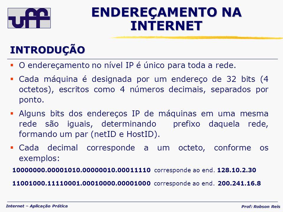 Internet – Aplicação Prática Prof: Robson Reis INTRODUÇÃO O endereçamento no nível IP é único para toda a rede.