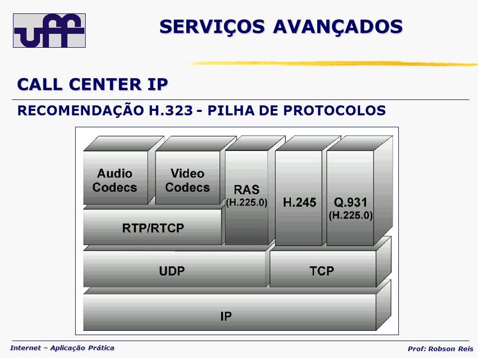 Internet – Aplicação Prática Prof: Robson Reis CALL CENTER IP RECOMENDAÇÃO H.323 - PILHA DE PROTOCOLOS SERVIÇOS AVANÇADOS