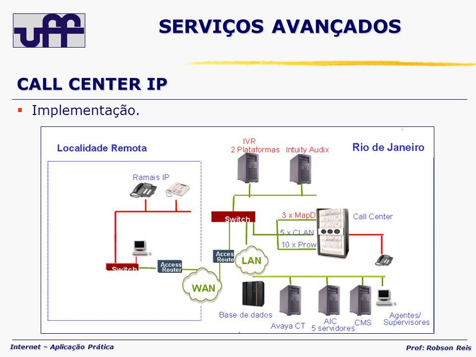 Internet – Aplicação Prática Prof: Robson Reis CALL CENTER IP Implementação. SERVIÇOS AVANÇADOS