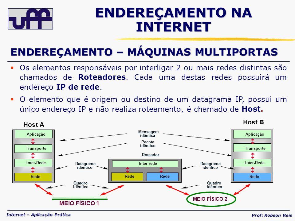 Internet – Aplicação Prática Prof: Robson Reis Os elementos responsáveis por interligar 2 ou mais redes distintas são chamados de Roteadores.