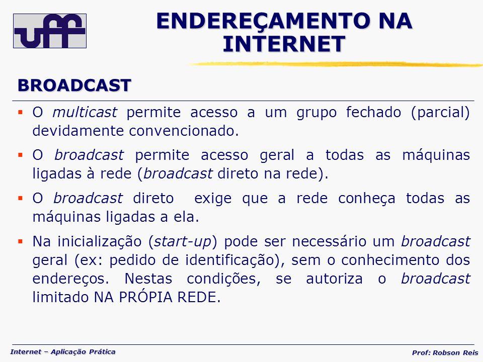 Internet – Aplicação Prática Prof: Robson Reis BROADCAST O multicast permite acesso a um grupo fechado (parcial) devidamente convencionado.