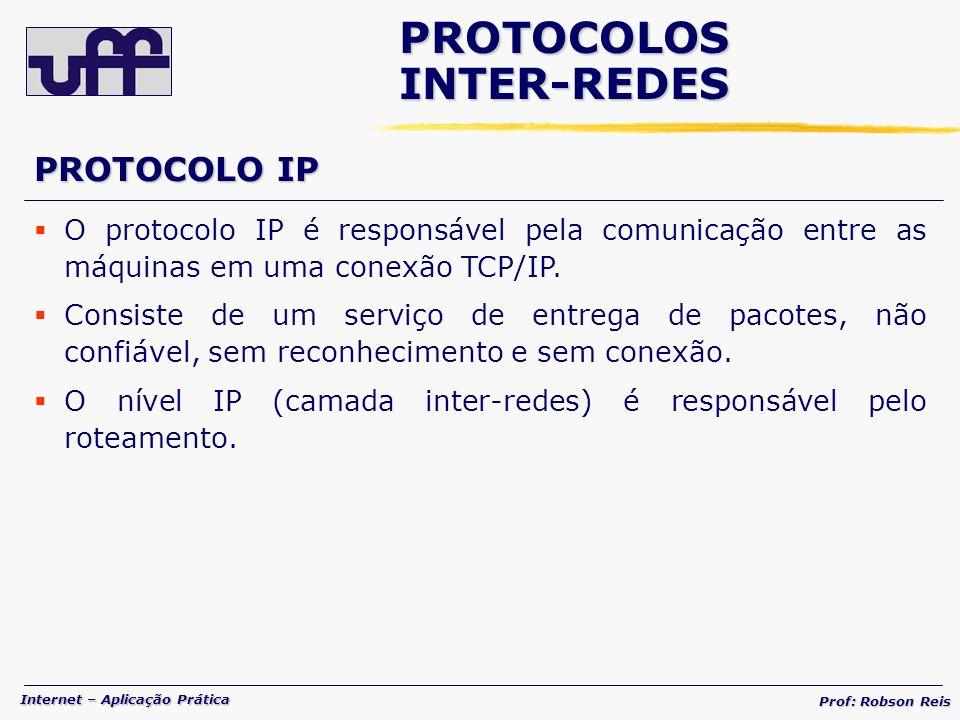 Internet – Aplicação Prática Prof: Robson Reis PROTOCOLOSINTER-REDES O protocolo IP é responsável pela comunicação entre as máquinas em uma conexão TCP/IP.