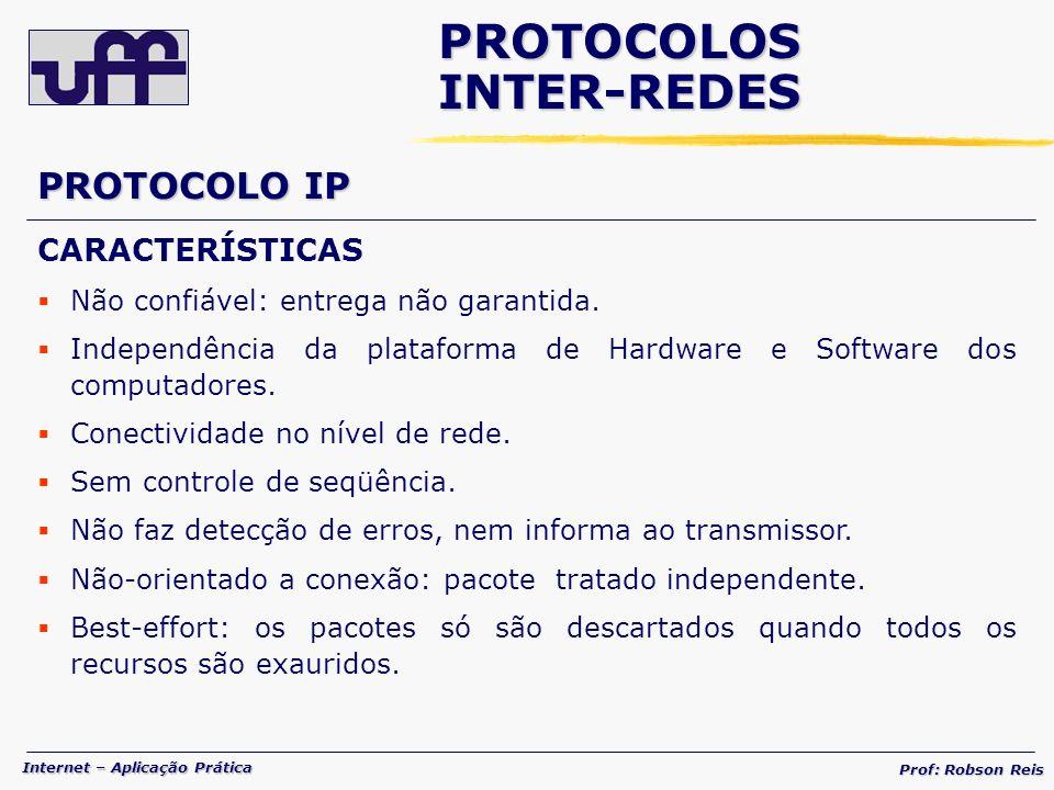 Internet – Aplicação Prática Prof: Robson Reis CARACTERÍSTICAS Não confiável: entrega não garantida.