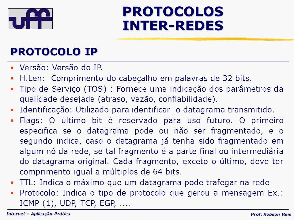 Internet – Aplicação Prática Prof: Robson Reis Versão: Versão do IP.