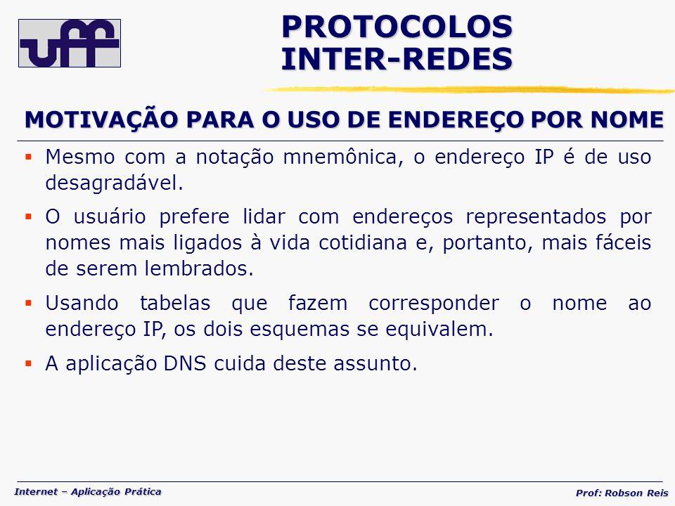 Internet – Aplicação Prática Prof: Robson Reis Mesmo com a notação mnemônica, o endereço IP é de uso desagradável.