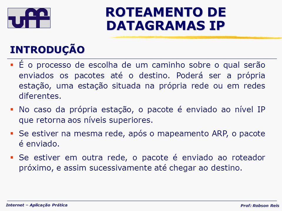 Internet – Aplicação Prática Prof: Robson Reis É o processo de escolha de um caminho sobre o qual serão enviados os pacotes até o destino.
