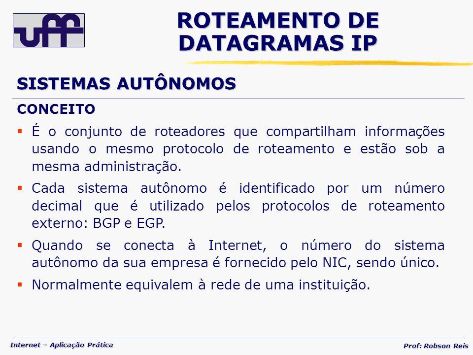 Internet – Aplicação Prática Prof: Robson Reis CONCEITO É o conjunto de roteadores que compartilham informações usando o mesmo protocolo de roteamento e estão sob a mesma administração.