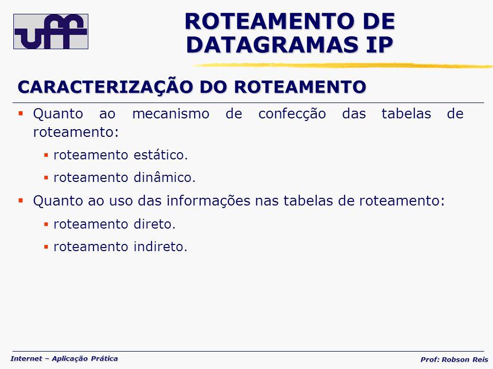 Internet – Aplicação Prática Prof: Robson Reis CARACTERIZAÇÃO DO ROTEAMENTO Quanto ao mecanismo de confecção das tabelas de roteamento: roteamento estático.