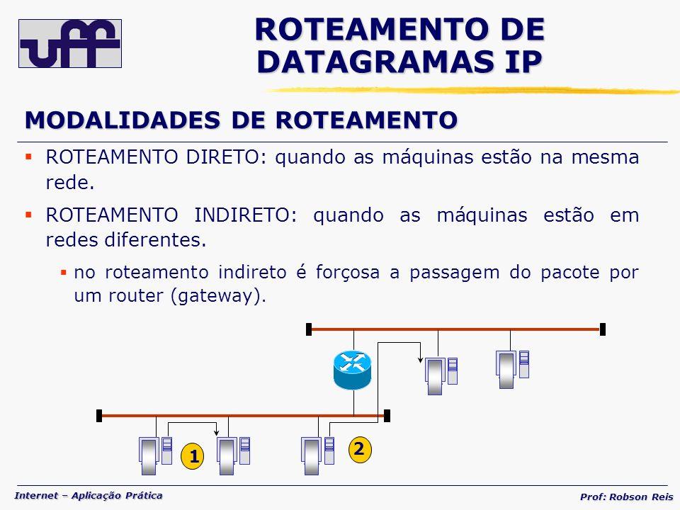Internet – Aplicação Prática Prof: Robson Reis MODALIDADES DE ROTEAMENTO ROTEAMENTO DIRETO: quando as máquinas estão na mesma rede.