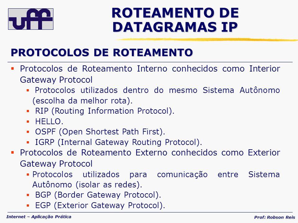 Internet – Aplicação Prática Prof: Robson Reis PROTOCOLOS DE ROTEAMENTO Protocolos de Roteamento Interno conhecidos como Interior Gateway Protocol Protocolos utilizados dentro do mesmo Sistema Autônomo (escolha da melhor rota).