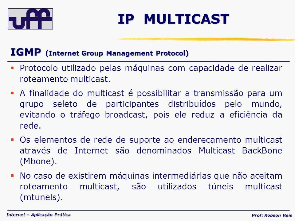 Internet – Aplicação Prática Prof: Robson Reis IP MULTICAST IGMP (Internet Group Management Protocol) Protocolo utilizado pelas máquinas com capacidade de realizar roteamento multicast.