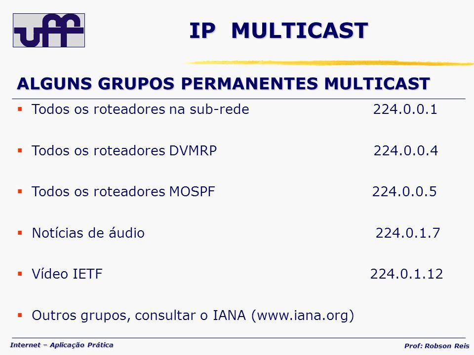 Internet – Aplicação Prática Prof: Robson Reis IP MULTICAST ALGUNS GRUPOS PERMANENTES MULTICAST Todos os roteadores na sub-rede 224.0.0.1 Todos os roteadores DVMRP 224.0.0.4 Todos os roteadores MOSPF 224.0.0.5 Notícias de áudio 224.0.1.7 Vídeo IETF 224.0.1.12 Outros grupos, consultar o IANA (www.iana.org)