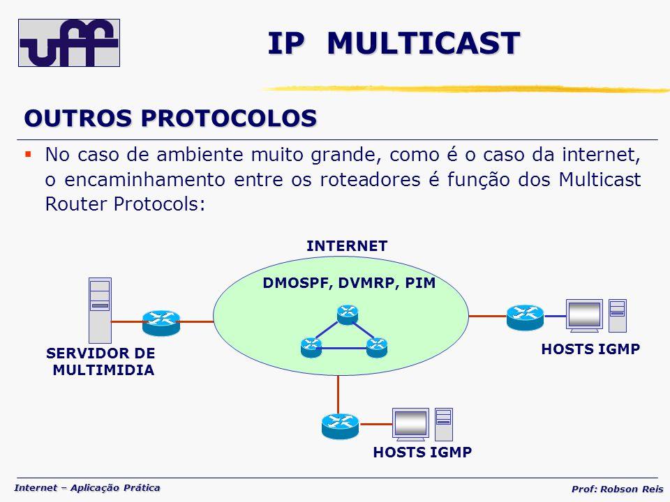 Internet – Aplicação Prática Prof: Robson Reis IP MULTICAST OUTROS PROTOCOLOS No caso de ambiente muito grande, como é o caso da internet, o encaminhamento entre os roteadores é função dos Multicast Router Protocols: DMOSPF, DVMRP, PIM INTERNET SERVIDOR DE MULTIMIDIA HOSTS IGMP