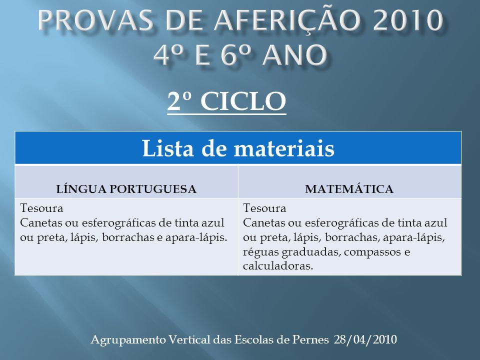 Agrupamento Vertical das Escolas de Pernes 28/04/2010 Lista de materiais LÍNGUA PORTUGUESAMATEMÁTICA Tesoura Canetas ou esferográficas de tinta azul o