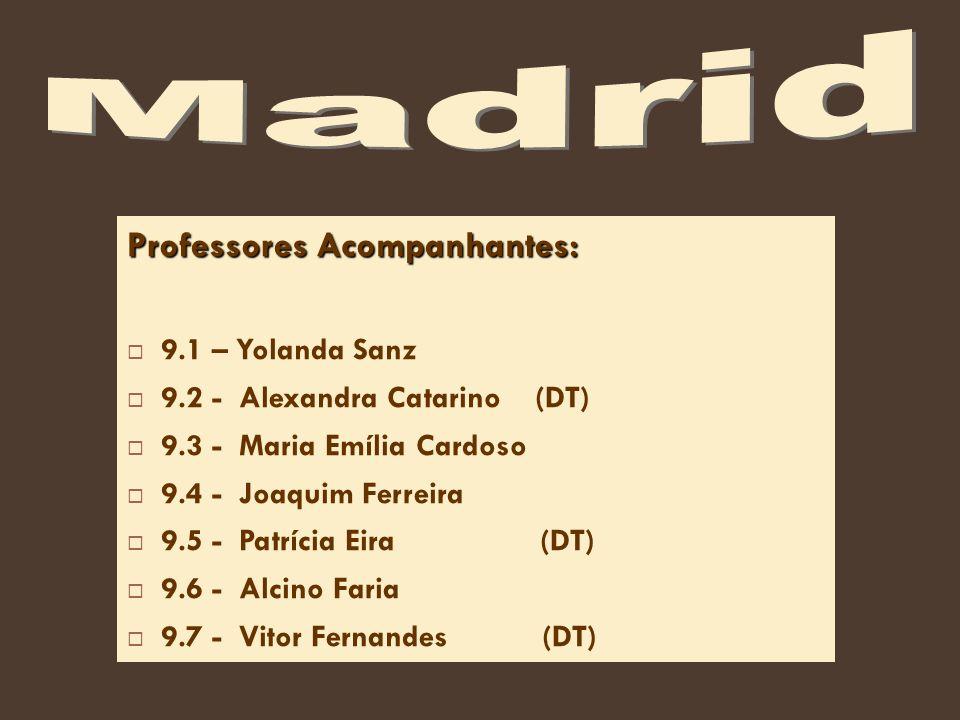 Professores Acompanhantes: 9.1 – Yolanda Sanz 9.2 - Alexandra Catarino (DT) 9.3 - Maria Emília Cardoso 9.4 - Joaquim Ferreira 9.5 - Patrícia Eira (DT) 9.6 - Alcino Faria 9.7 - Vitor Fernandes (DT)