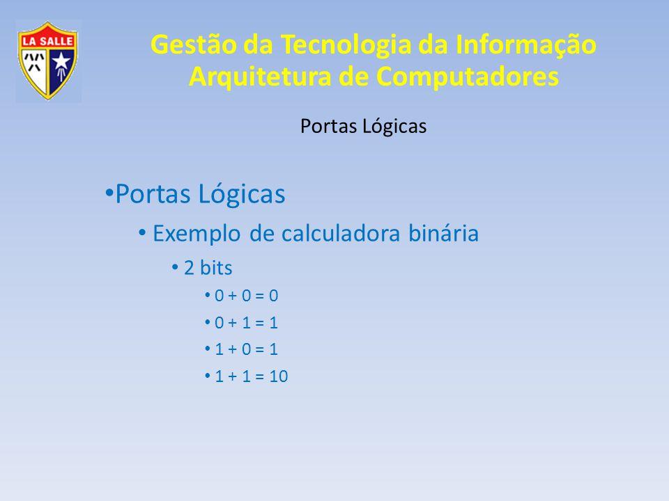 Gestão da Tecnologia da Informação Arquitetura de Computadores Portas Lógicas Exemplo de calculadora binária 2 bits 0 + 0 = 0 0 + 1 = 1 1 + 0 = 1 1 + 1 = 10