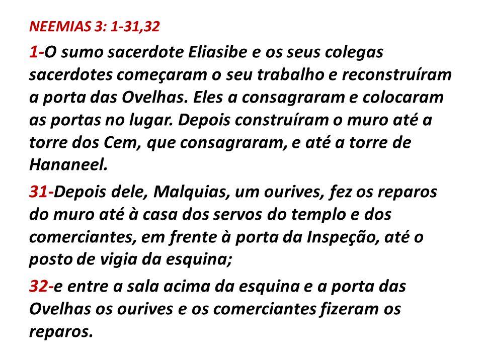 NEEMIAS 3: 1-31,32 1-O sumo sacerdote Eliasibe e os seus colegas sacerdotes começaram o seu trabalho e reconstruíram a porta das Ovelhas. Eles a consa